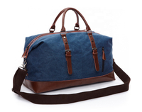JUNYUAN Oversized Canvas Genuine Leather Trim Travel Tote Shoulder Bag