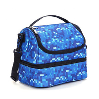 JUNYUAN Double Decker Insulated Lunch Box Soft Cooler Bag Thermal Lunch Bag