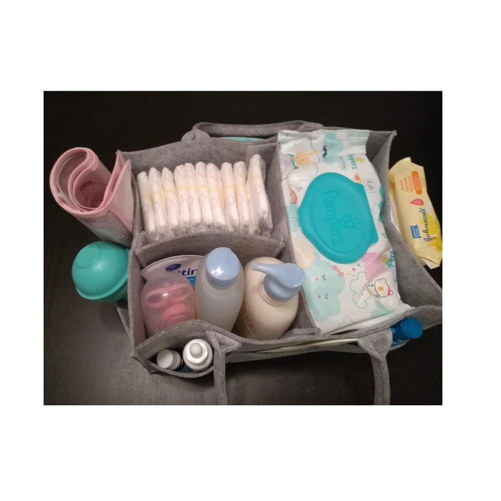 100% Polyester Felt Baby Diaper Caddy Organizer With a Lots Storage