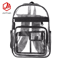 JUNYUAN Strong Clear PVC Backpack Transparent Backpack with Multiple Pockets