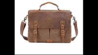 Leather Canvas Business Briefcase Shoulder Men's Sling Message Bag