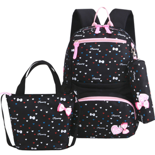 New Large Capacity Printed School Backpack 3 Pieces Set Cute Nylon Waterproof School Backpack with Dot