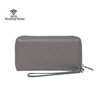 JUNYUAN RFID Blocking Wallet Leather Large Purse Wristlet Handbag