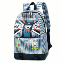JUNYUAN Casual Canvas Stripe Color Backpack Student Bag College Wind Cartoon for Unisex