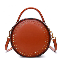 JUNYUAN 2019 New Fashion circular Handbag Rivet Genuine Leather Bags Women Handbags For Lady