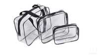 JUNYUAN Transparent Waterproof Travelling Fashion Clear PVC 3 Sets Cosmetic Bag