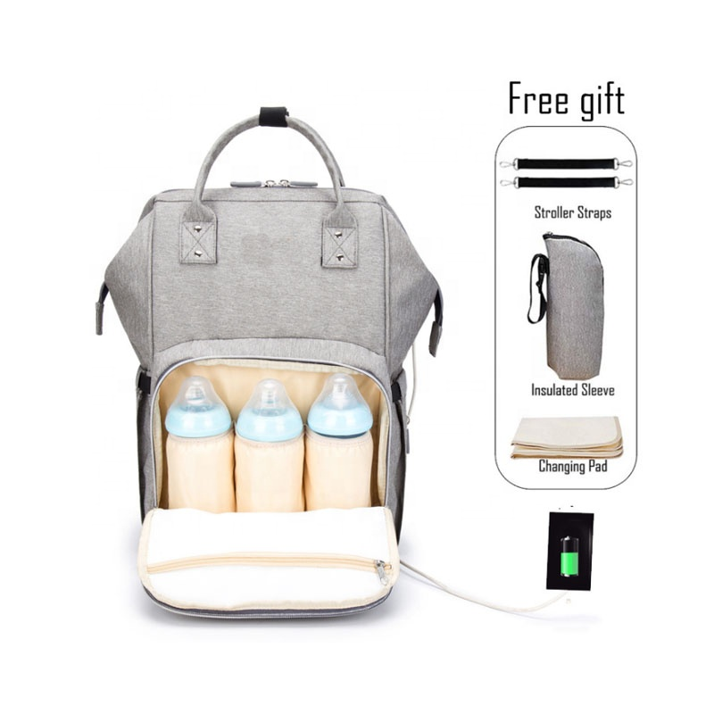 Multi-function Open Large Gray Mommy Baby Diaper Bags with USB Port