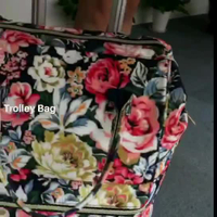 New Arrival Printing Flowers School Trolley Bag With Laptop Compartment