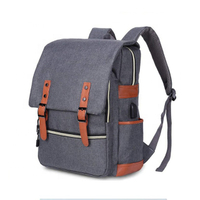 JUNYUAN Unisex Vintage Laptop Backpack School College Backpack with USB Charging Port