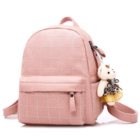 JUNYUAN Korean Style Travel Backpack PU Leather Fashion Women School Backpack Bag