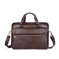 JUNYAUN Business Briefcase For Men Genuine Leather Shoulder Handbag