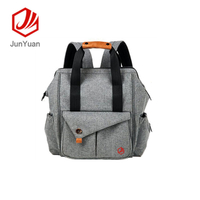 Grey fashion outdoor diaper mummy backpack bag with stroller strap