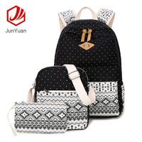 New Style Backpack Canvas Korean Version Backpack Students Backpack 3 Sets